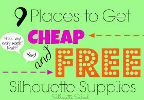 Silhouette School: FREE or Cheap Silhouette Supplies: 9 Places to Look