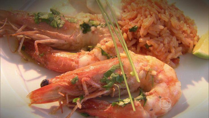 Camarões Grelhados com Arroz de Tomate | Peixes e frutos do mar > Receitas com Camarão | Estrelas - Receitas Gshow