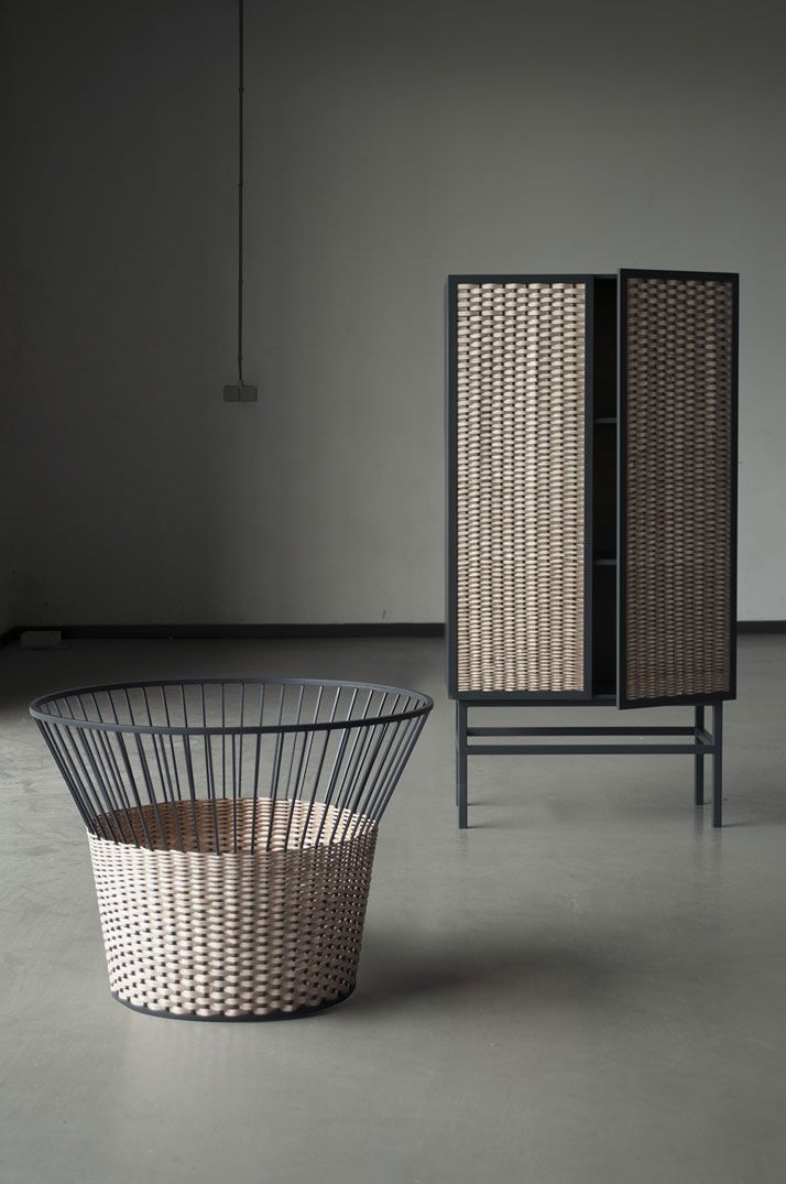 Meet the wicker, a series of products reflecting different qualities of the wicker material implemented in industrial metal furniture. © Chudy and Grase.