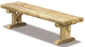 Landscape Timber Bench...home depot will cull these out frequently and they drop to about $0.50/ea for 8ft, so you could make this whole bench for less than $10