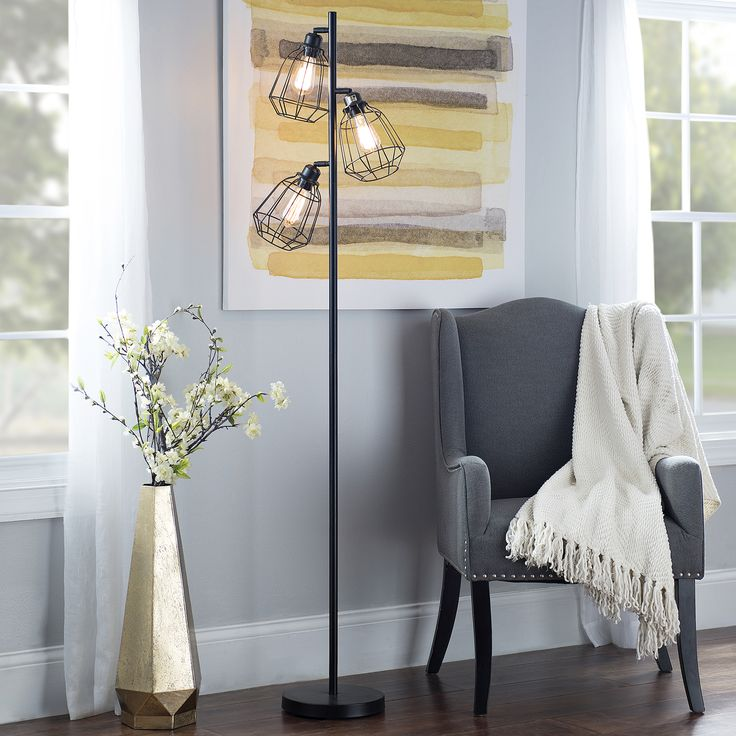 This caged floor lamp is industrial chic.