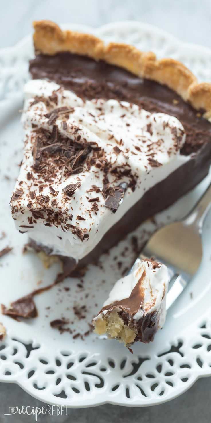 This Homemade Dark Chocolate Pudding Pie is the dessert for chocolate lovers! It is rich, smooth, creamy and made from scratch -- perfect for your holiday dessert table!