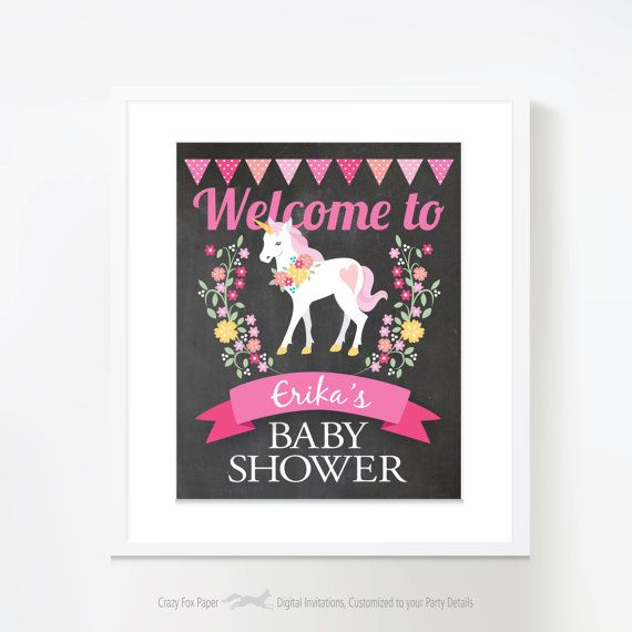 Unicorn Baby Shower Signs Printable Customized by crazyfoxpaper