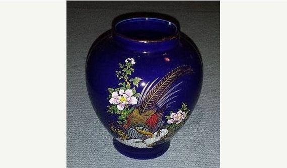 Vintage Kutani Style Cobalt Blue Vase,  Gilded Pheasant, Birds Vase ,Flowers & Gold Trim Vase, Cobalt Vase, Asian Vase by JunkYardBlonde on Etsy