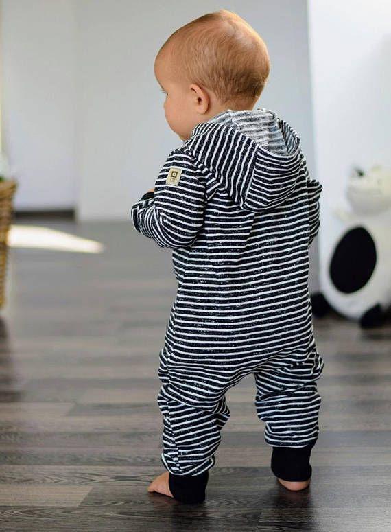 Organic Hooded Baby Girl Boy Overall Baby B&W Striped