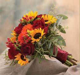 Fall / Autumn Wedding Flower Bouquet - Yellow Sunflowers, Orange Flowers, and Red Roses, also Red Ribbon Wrap
