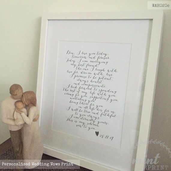Wedding Vows Print / Bride and Groom Wedding Vows by MintImprint