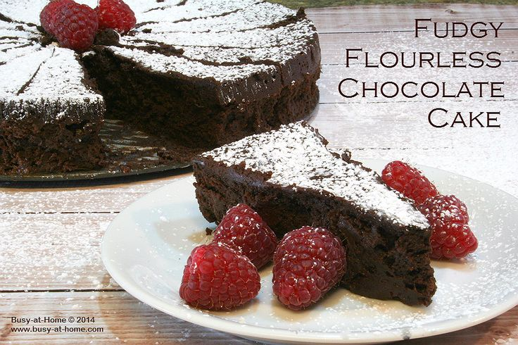 Fudgy Flourless Chocolate Cake from Busy-at-Home. It's gluten-free chocolate heaven!