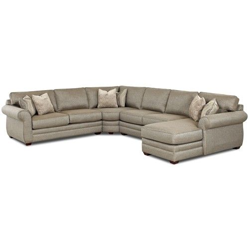 Klaussner Clanton Transitional Sectional Sofa with Right Chaise and Full Sleeper