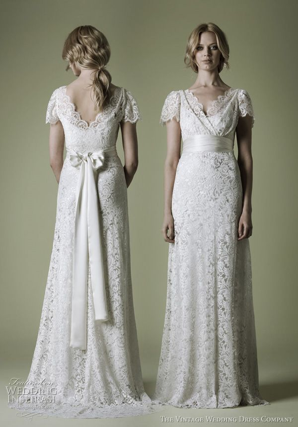 Ornate French Lace with Sleeves and Silk Sash by The Vintage Wedding Dress Company. <3 <3 <3