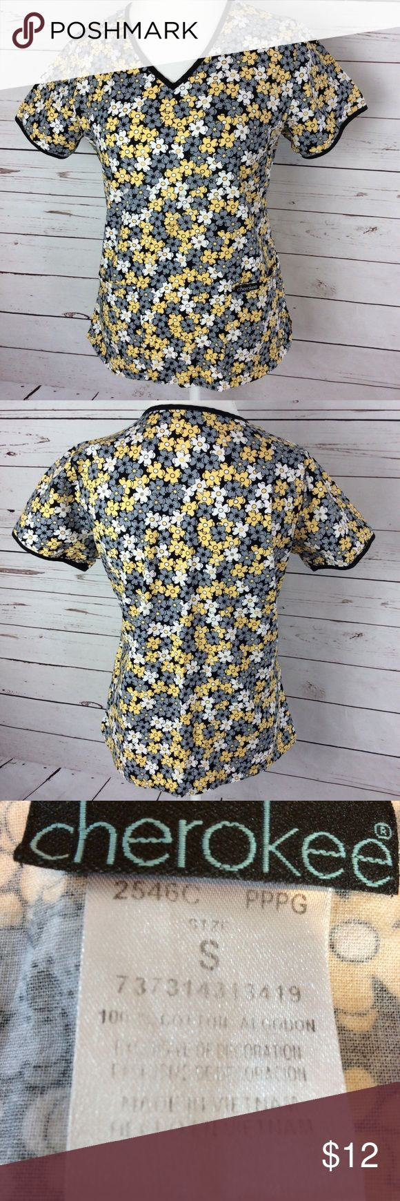 Cherokee Scrub Womens Top Size S Flower Multicolor 100% money back guarantee, free returns and excellent customer service.  Your item will ship within 24 hours after payment is received (excluding weekends and Holidays)  Please let us know if you have any questions.   Cherokee Scrub Womens Top Size S Flowers Black Yellow Gray White Nursing  #2546C  Location: F7  Our items are all from a pet free, smoke free home.  Items are purchased locally or donated so we are not aware if they have…