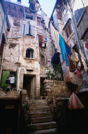 Rovinj Istra Croatia Washing Hanging In A Courtyard In The Old