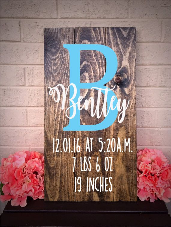 Birth Announcement Sign Birth Stats Sign Baby Boy Nursery