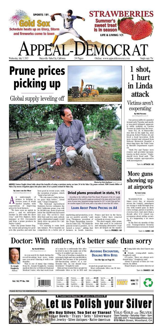 Appeal-Democrat front page for Wednesday, July 3, 2013.