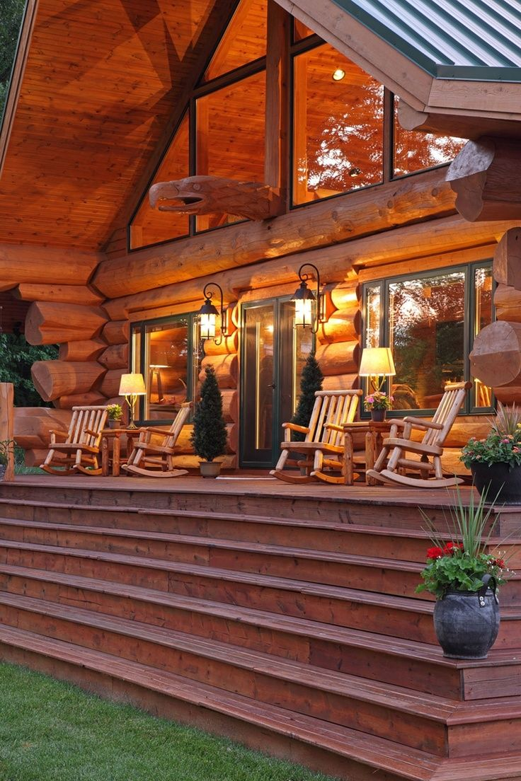 Best 25 cabin porches ideas on pinterest lake cabins for Log home porches