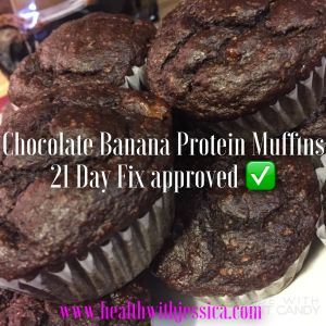 Chocolate-Banana Protein Muffins: 21 Day Fix approved (NO flour!)