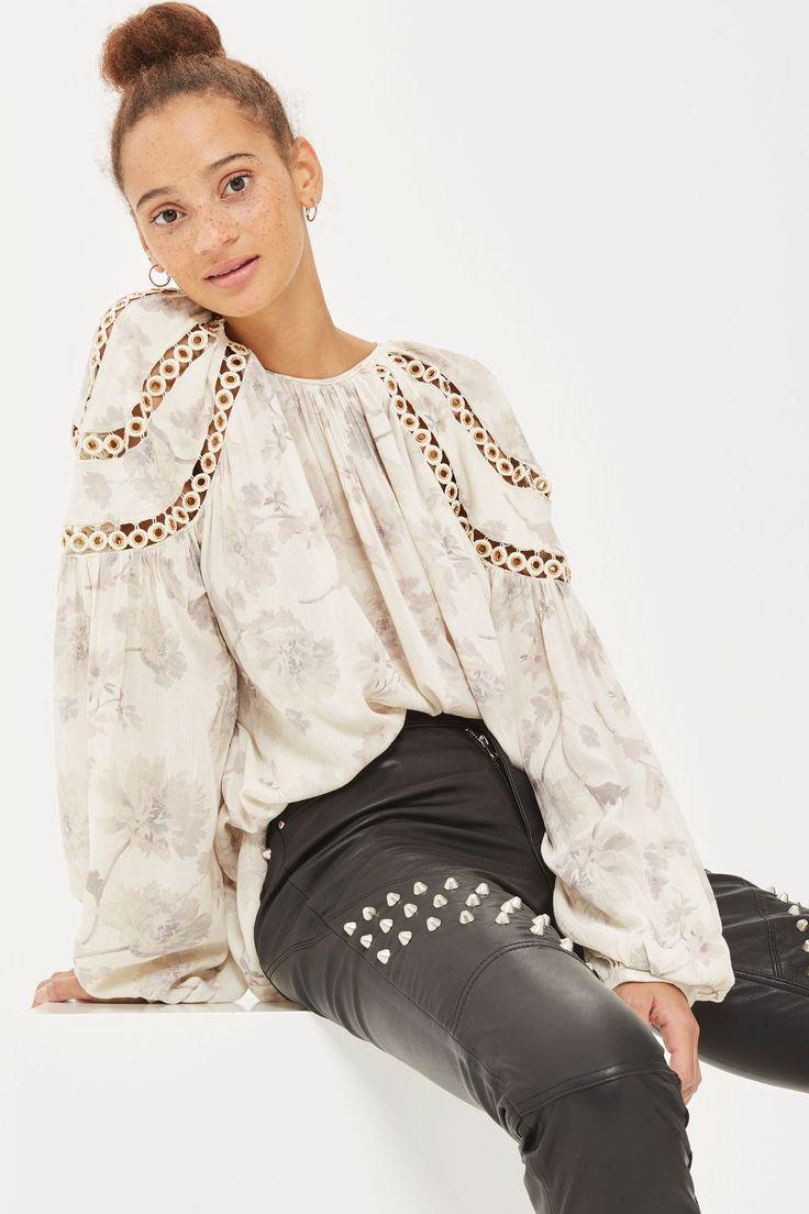 L2017 http://www.topshop.com/en/tsuk/product/clothing-427/shirts-blouses-4650801/eyelet-floral-print-smock-blouse-6846282?bi=40