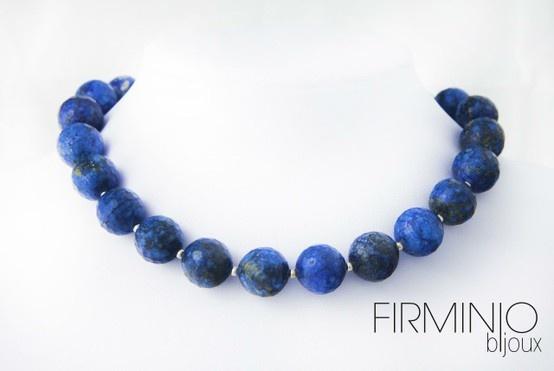 #Girocollo in perle di #lapislazzuli sfaccettati ed inserti in #argento. #Necklace with #lapis lazuli #pearls and #silver hooks. $123