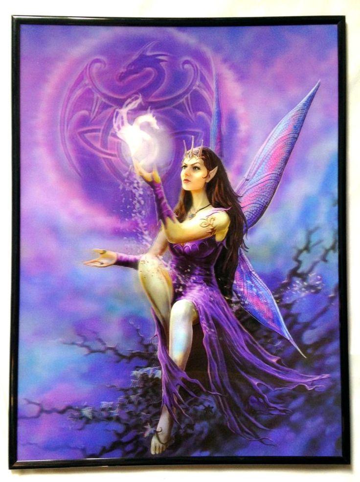 3D Lenticular Poster Framed Purple Fairy Gothic Art