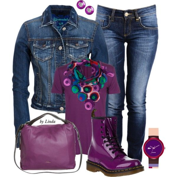 """Denim & Purple Fall Outfit"" by lindakol on Polyvore"