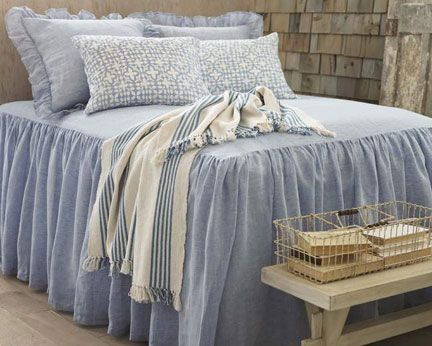 Pine Cone Hill Savannah Linen Chambray French Blue Bedspread | Gracious Style