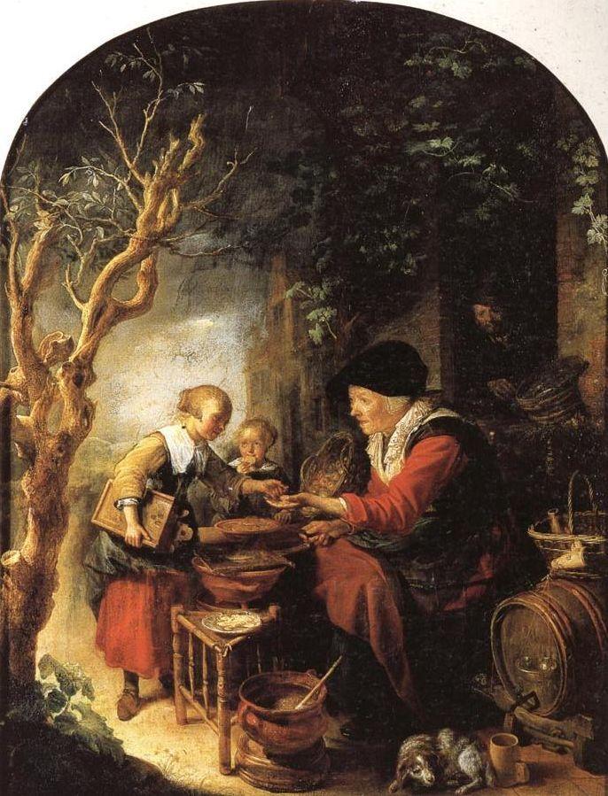 Gerrit Dou: De pannenkoekenbakster. ca. 1650-1655. Uffizi Galerij, Florence. Ondanks de titel verkoopt deze vrouw appelbeignets aan twee kinderen. Op de voorgrond een hond vlak bij een vat met wijn of bier. De verkoopster heeft waarschijnlijk voor haar huis een straatkraam neergezet. Haar man houdt een oogje in het zeil vanaf de deuropening. Tegen het huis staat een gevlochten mand met appels naast een schaal appelbeignets.
