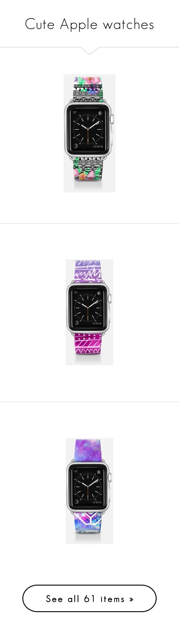 """""""Cute Apple watches"""" by sweet-brownsuga ❤ liked on Polyvore featuring jewelry, watches, apple watch band, floral watches, aztec watches, hawaiian jewelry, floral jewelry, aztec jewelry, ombre jewelry and pastel jewelry"""