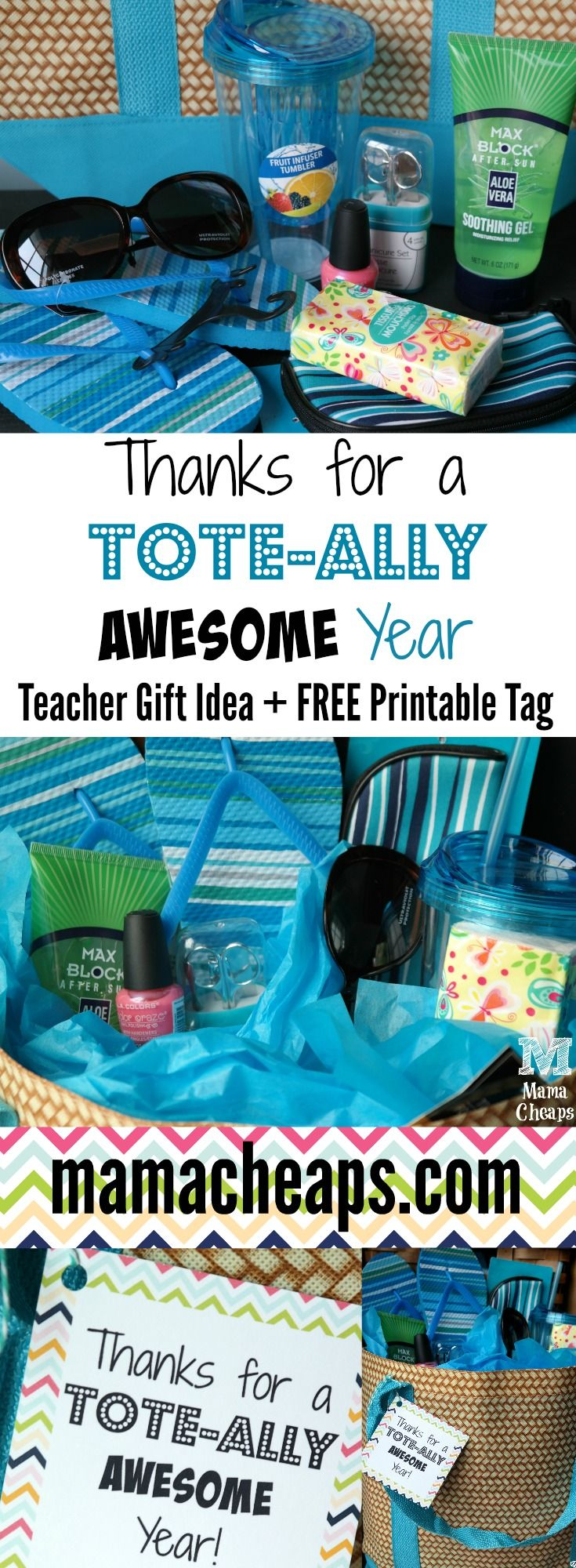 TOTE-Ally Awesome Teacher Tote Bag Gift Idea + FREE Printable Tag - less than $9 for everything pictured!