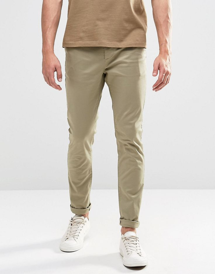 ASOS Skinny Chinos In Light Stone - Stone
