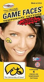 Set of 4 Iowa Hawkeyes Game Faces Waterless Temporary Tattoos for your Tailgate Gameday Party from TeamTailgate Shop $3.25