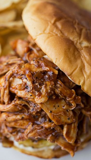 "Hawaiian-BBQ ""Pulled"" Chicken Sandwich Recipe 