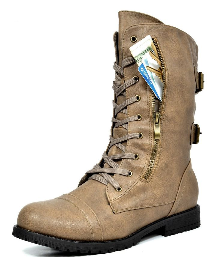 DREAM PAIRS TERRAN Women's Military Lace up Mid Calf Built-In Wallet Pocket Combat Boots Khaki Size 8.5