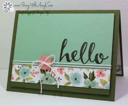 Today I'm sharing a sneak peek at an upcoming stamp set from the 2016 Stampin' Up! Sale-a-bration brochure. I used the Hello stamp set to create my card for the Sunday Stamps SSC116 sketch challenge.