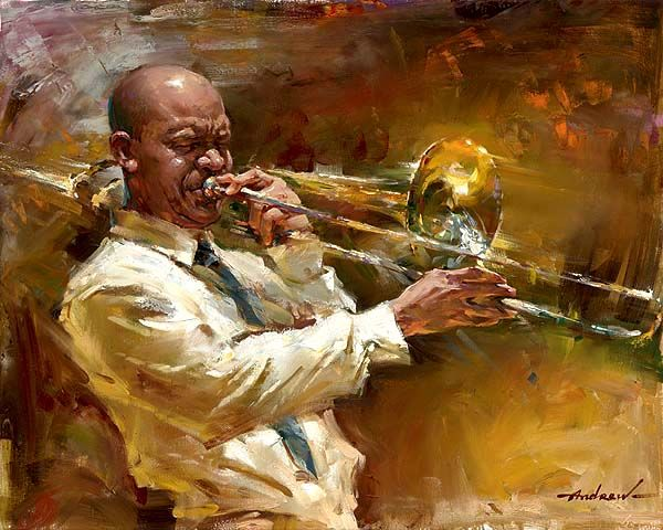 """Solid Brass"" by Andrew Atroshenko, a romantic impressionistic Russian artist. Born in Pokrovsk, Russia in 1965, Andrew became part of a gifted child program at the Children's Art School there, & was later accepted at the St. Petersburg Academy of Art, one of the world's most prestigious art schools. In 1999 Andrew spent the entire year in the U.S. He was invited by 'Bay Arts', a New England based group, to take part in their exhibitions & activities."