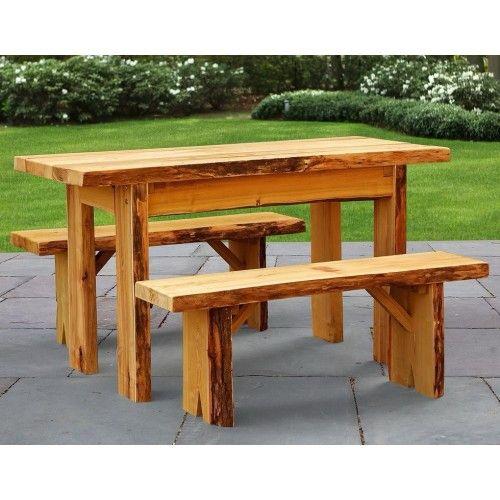 A L Furniture Co Blue Mountain Live Edge Autumnwood Picnic Table Set Picnic Table Picnic Table Settings
