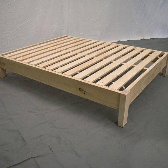 Cheap Modern Bed Frames: Unfinished Farmhouse Platform Bed / Traditional Platform