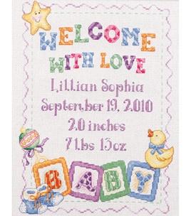 "Bucilla Baby Blocks Birth Record Counted Cross Stitch Kit-9""X11-1/2"" & counted cross stitch kits at Joann.com"