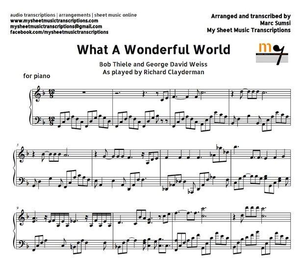 What A Wonderful World Richard Clayderman Sheet Musi My Sheet