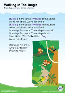 "Lyrics poster for ""Walking In The Jungle"" animal song from Super Simple Learning. #kidssongs #kindergarten #ESL"