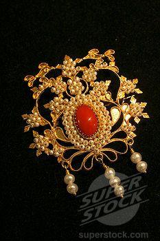 SuperStock - Filigree jewelry, Marrocu goldsmith, Villacidro, Medio Campidano Province, Sardinia, Italy