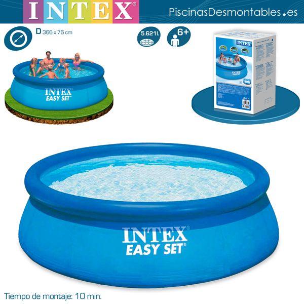 Piscinas INTEX modelo Easy Set. El anillo superior es inchable. Tiene un diámetro de 360cm y una altura de 76 cm. Volumen: 5.621 litros. Tiempo de montaje: 10 minutos. Pertenece al grupo de piscinas baratas de INTEX. Ideal para familias que quieren comprar una piscina por primera vez.