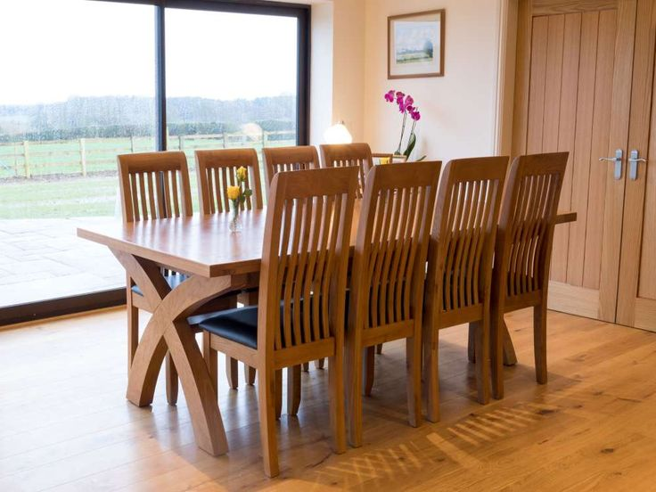 Westfield Solid Oak Dining Chair With Brown Leather Seat Pad Photo Taken In A Barn