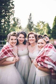 Bridesmaids Hair Style Make Up Dresses Retro 1950s Vintage Wedding http://amyfaithphotography.com/
