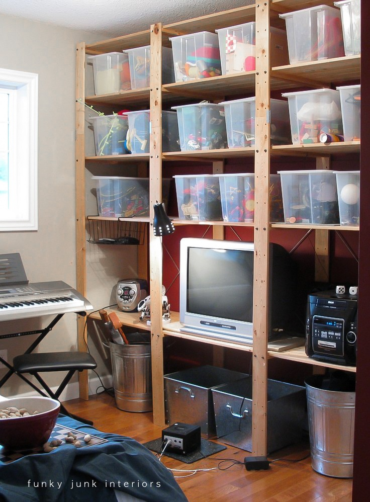 53 best garage storage ideas images on pinterest for Funky shelving ideas