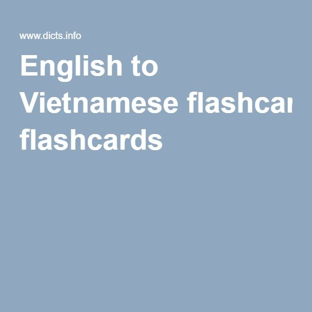 English to Vietnamese flashcards