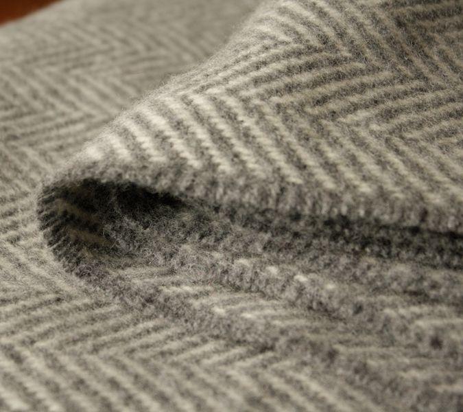 Fischgratdecke Grau Fischgratmuster Merino Decke Wolldecke