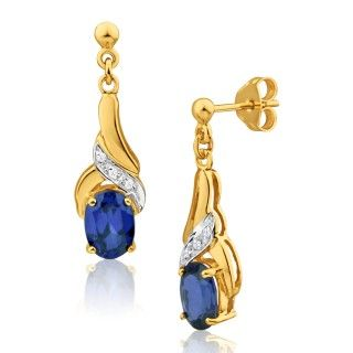 Earrings, drop earrings, stud earrings, sapphire and diamonds set earrings, online jewellery, gold, grahams jewellers