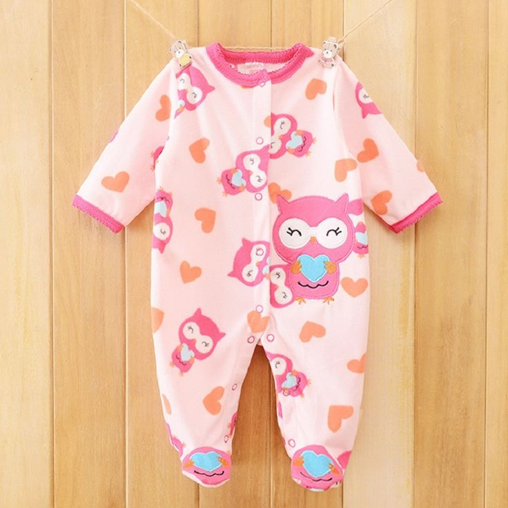 Baby Rompers Fleece Clothing Newborn Baby Boys Girl Winter Clothes Costume Overalls Bebes Menino Long Sleeve Baby owl patterm