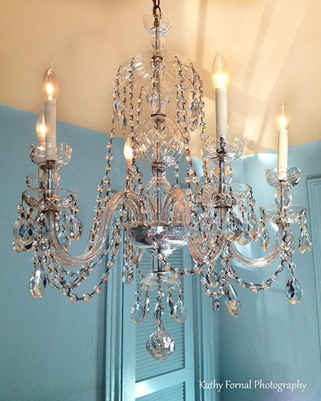 Teal Crystal Chandelier Photo Shabby Chic By Kathyfornal On Etsy