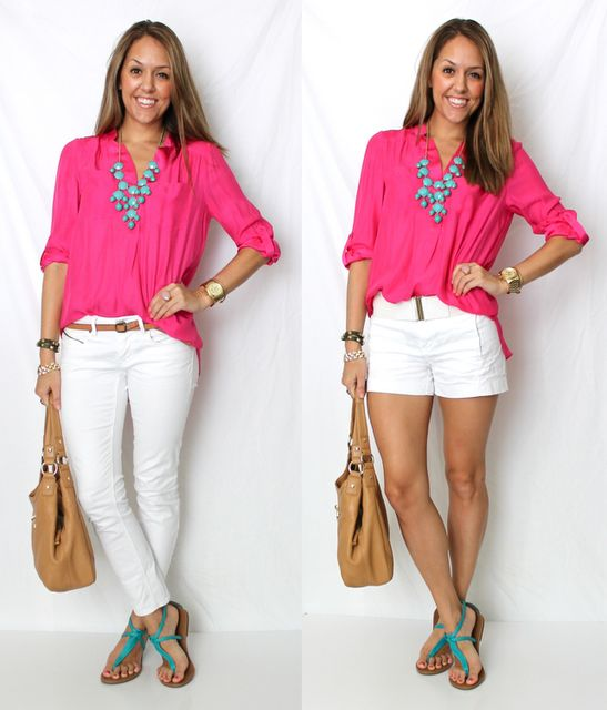 white shorts:)White Shorts, Everyday Fashion, Style, Cute Summer Outfit, White Pants, Hot Pink, J S Everyday, Bubbles Necklaces, White Jeans